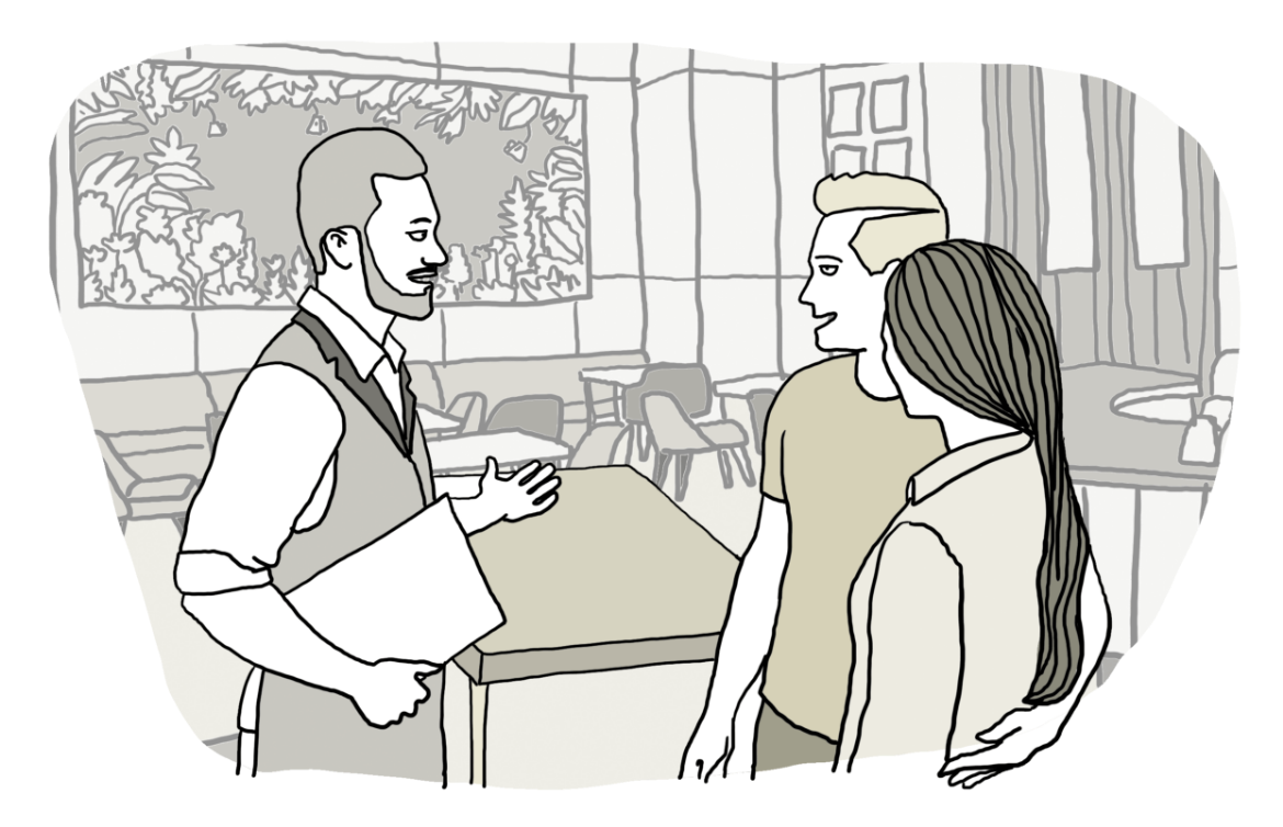 Illustration, waitress and clients
